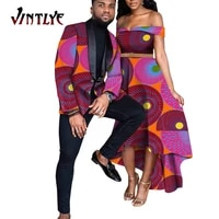 african clothes for couples mens suits top and lady sexy dress ankara print traditonal dashiki party banquet clothing wyq762
