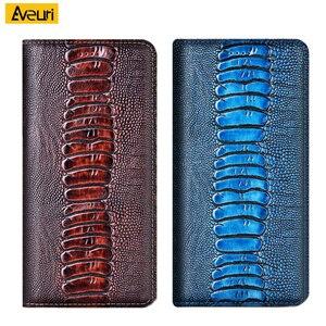 Pocophone F2 Pro Case Genuine Leather Phone Case For Xiaomi Poco F2 Pro F1 Coque Luxury Ostrich Poco phone F2 Pro F1 Cover Case