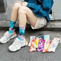 korean fashion street trend skateboard socks tie dye harajuku embroidery daisy ladies socks couple in tube cotton colorful 35 40