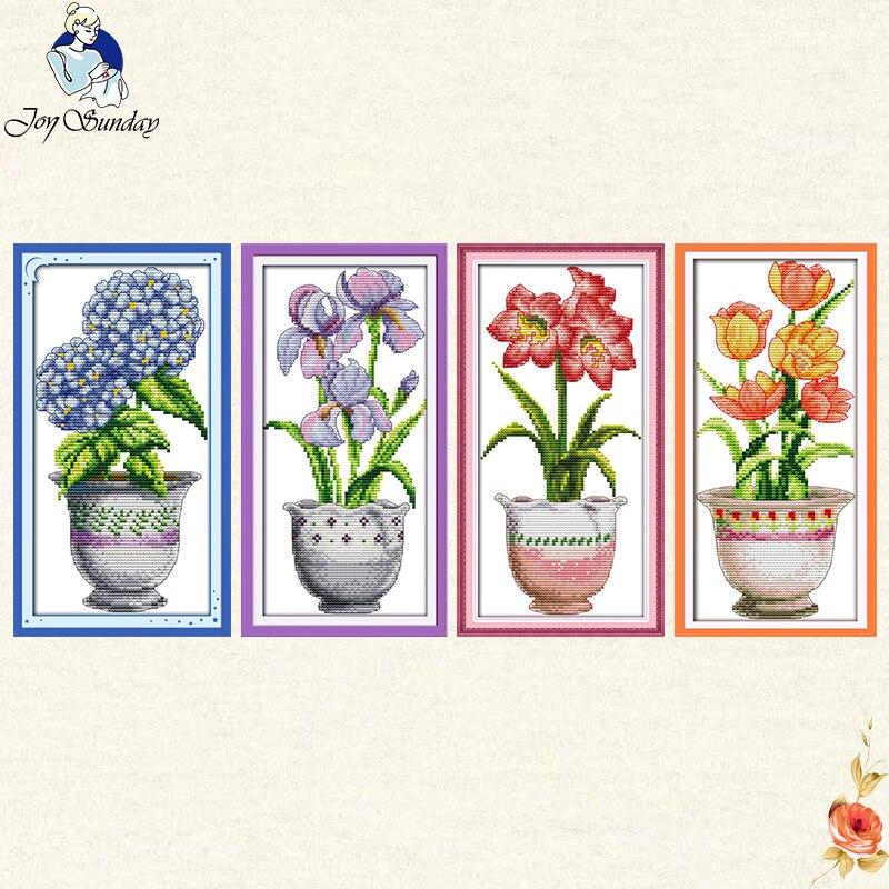 Joy Sunday beautiful vase Counted Cross Stitch  11CT 14CT Cross Stitch Set Wholesale flower Kit Embroidery  Needlework gifts