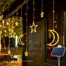 Lumières solaires jardin fée guirlande 123LED guirlandes lumineuses avec télécommande lumière solaire lune étoile lampe étanche noël