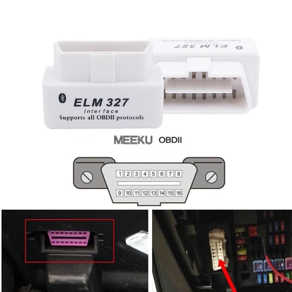 Blanco V2.1 ELM327 interfaz OBD2 escáner de coche herramienta de diagnóstico para Audi A6 C6 A1 A3 A4 B6 Elm 327 Bluetooth OBD2 escáner adaptador