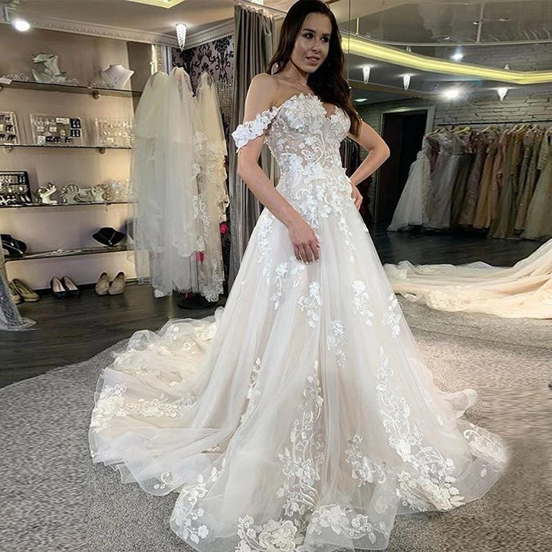 Get Charming Sweetheart Appliques Wedding Dress 2021 A-Line Off-The-Shoulder Sweep Train Lace-up Bridal Gowns Customize Plus Size