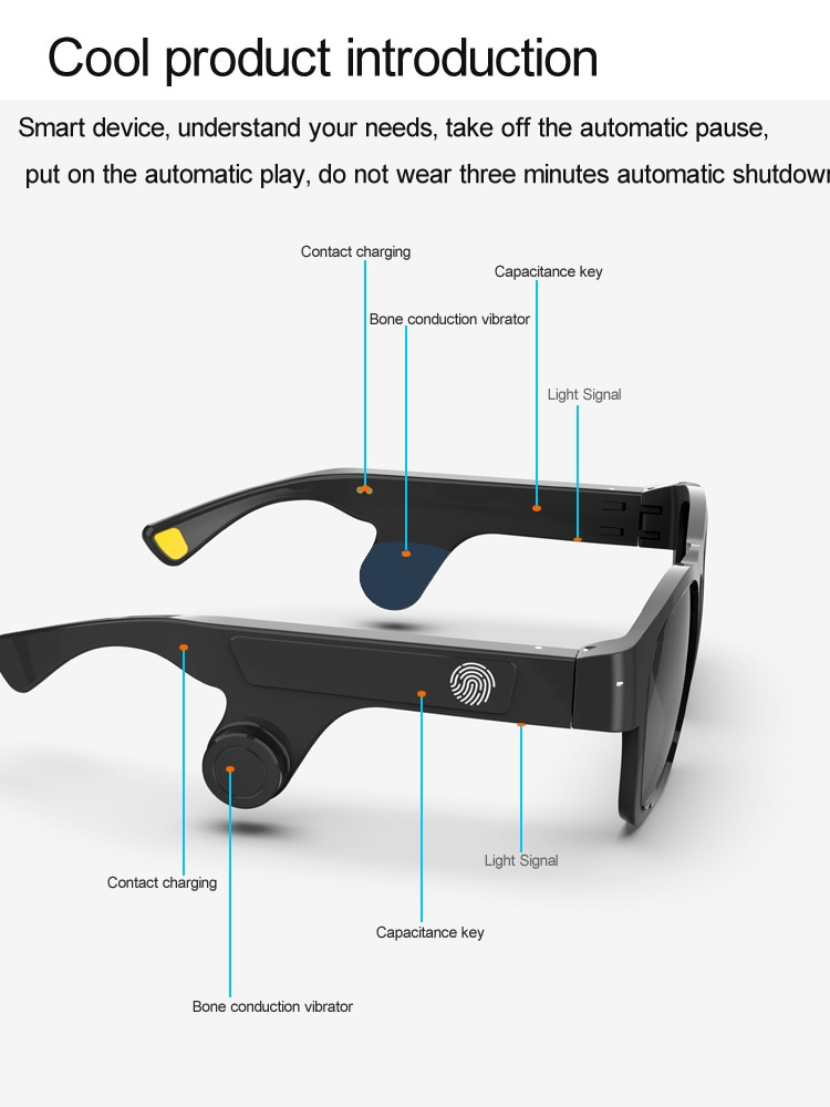 Smart audio glasses Wireless bluetooth headphones Bone conduction earphones HD Mic Music Glasses Outdoor Cycling Sunglasses enlarge