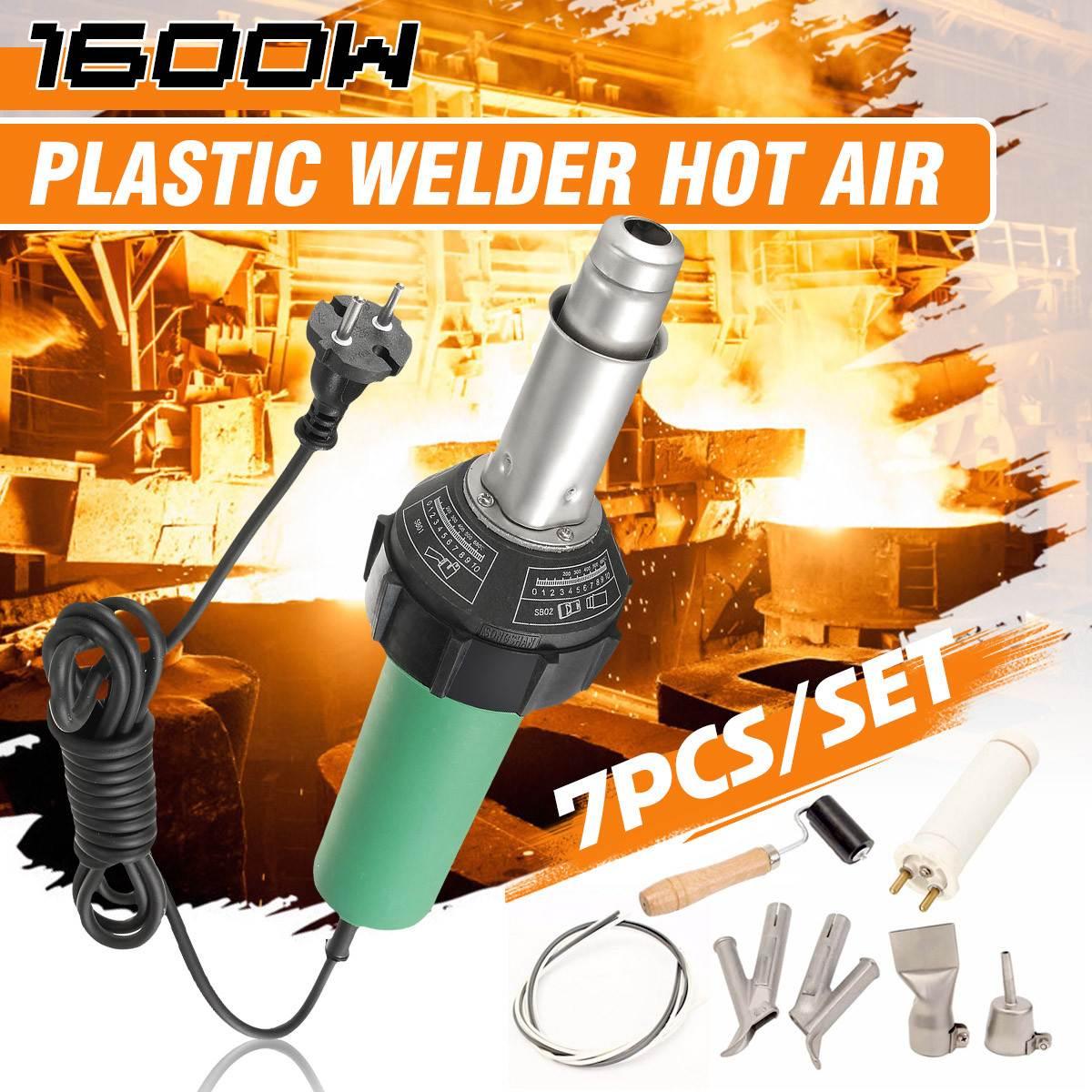 7PCS/Set AC 220V 1600W 50/60Hz Hot Air Torch Plastic Welding-Gun For Welder + Nozzle Welding+Heating Lement Accessories