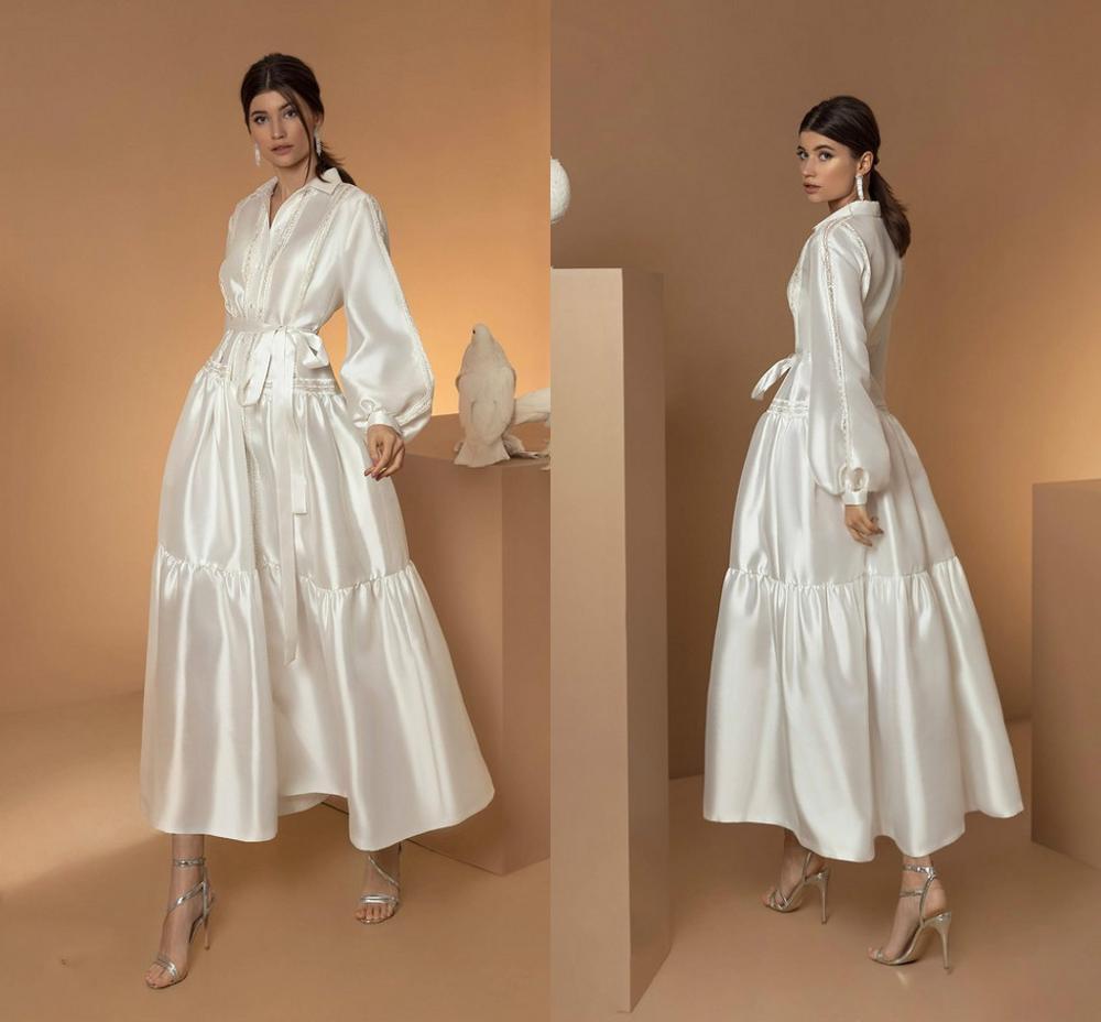 Promo 2021 Jacket Wedding Dresses V Neck Satin Beaded Long Sleeves vintage tea-length Belt Cheap Vestidos De Novia garden bride gowns