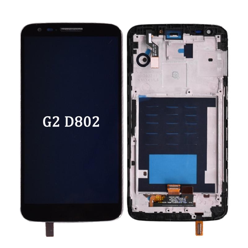 Original para LG G2 D802 LCD pantalla táctil + montaje digitalizador con marco negro y blanco lcd sin marco para G2 D802