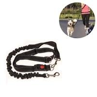 black 78 130cm adjustable hand free dog leash for dog lightweight pet walking running jogging lead waist belt chest strap