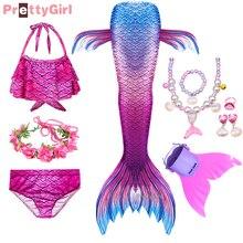 พริตตี้เด็กหญิงว่ายน้ำ Mermaid Tail Mermaid Cosplay เด็กชุดว่ายน้ำ Fantasy Beach บิกินี่สามารถเพิ่ม Monofin Fin