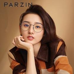 Parzin comuter óculos redondos do vintage armação de óculos de prescrição de metal armação senhoras miopia olho vidro pz15753b