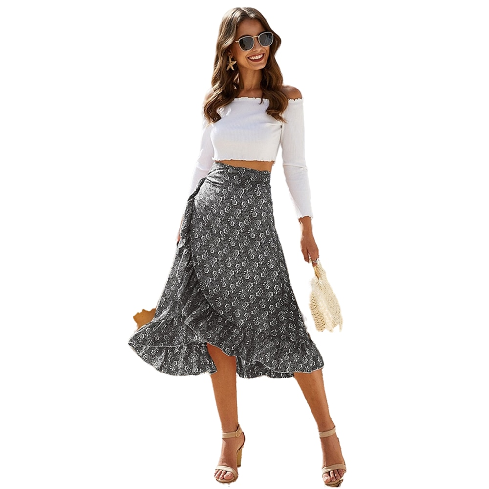 Summer Asymmetrical Women s Skirts Floral Mid length Skirt Mulberry Silk Chiffon Pink Fashion Bohemian Sexy Clothing