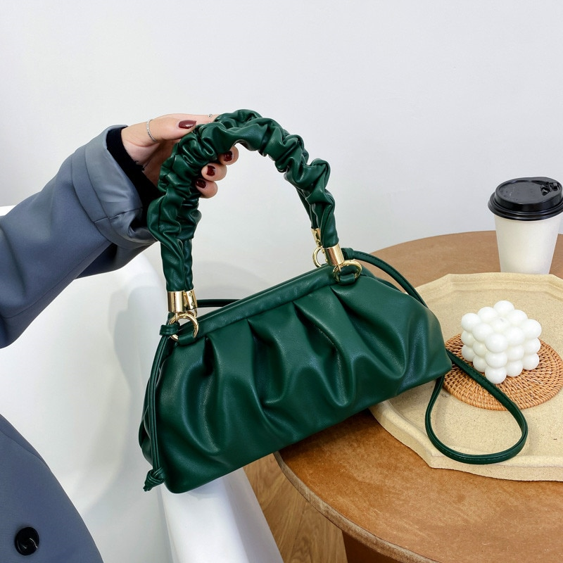 New Fashion Solid Color Pleated Tote Bag for Women Elegant Small Dumpling Shoulder Bags Lady High Quality Leather Crossbody Bag