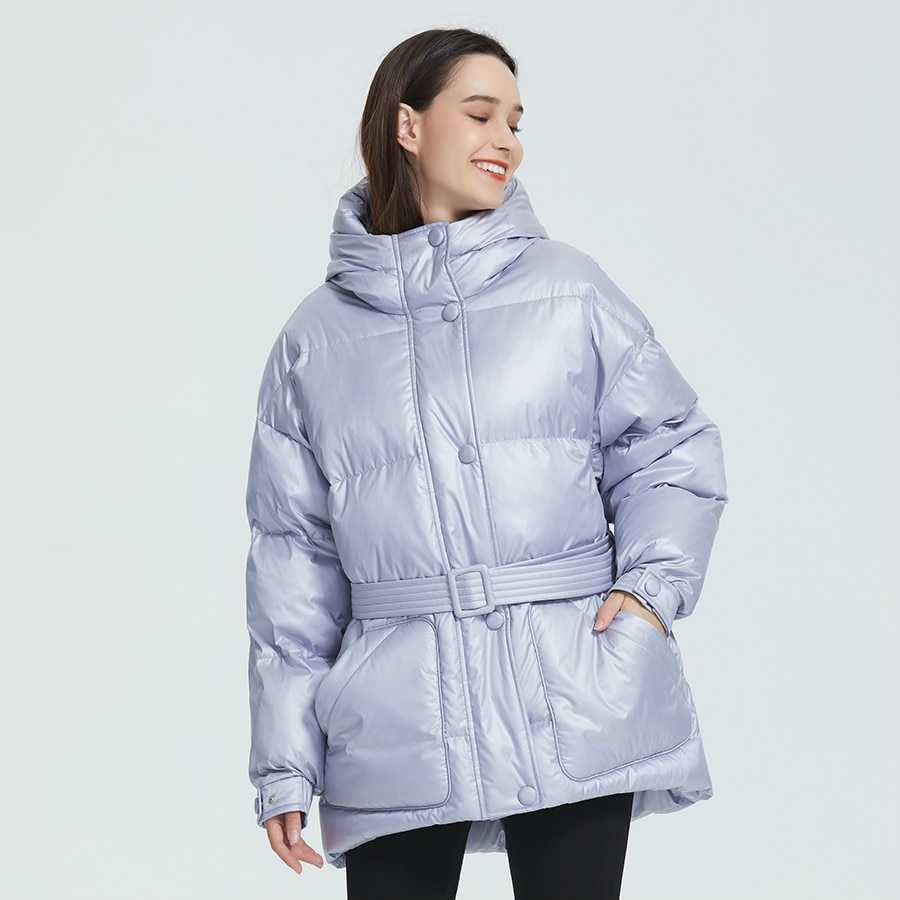 2021 New Winter Women's Jacket High Quality Bright Colors Insulated Puffy Coat collar hooded Parka Loose Cut With Belt