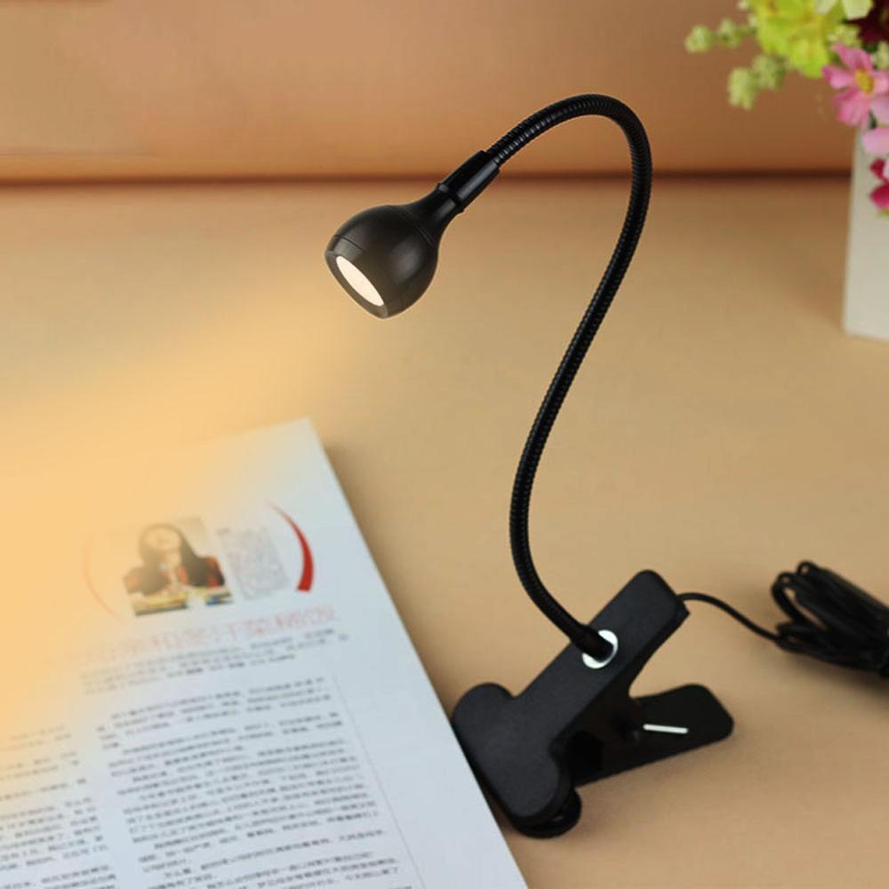 Lámpara de escritorio con abrazadera, protección ocular, luz LED de noche USB, luces de lectura de libros portátiles con cuello de cisne Flexible para el estudio del dormitorio
