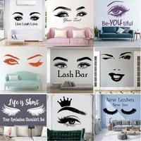 vinyl eye wall decals lashes beautiful girl beauty salon decoration custom text eyebrows make up custom stickes decor ru9992
