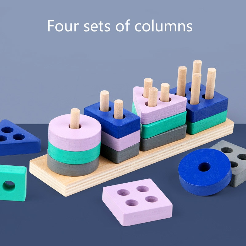 children s building blocks toys 1 3 years old baby shape matching wooden Children's Color Recognition Wooden Building Blocks Boys and Girls Shape Matching Toys Baby Educational Early Education Toys