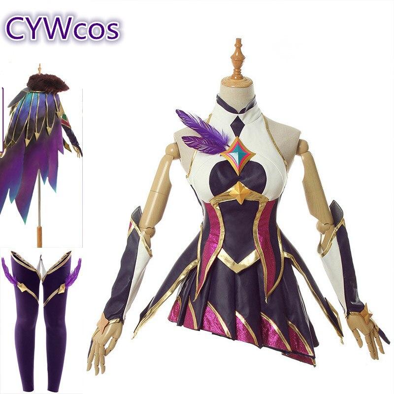 Quente nova estrela guardiões lol tema starlight subindo rakan e xayah cosplay traje presente de natal conjuntos completos peruca trajes