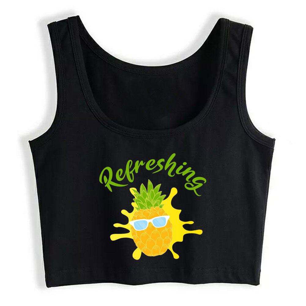 Crop Top Female Refreshing pineapple O-Neck White Cotton Yoga Vest Tank Top white high neck crop cami top