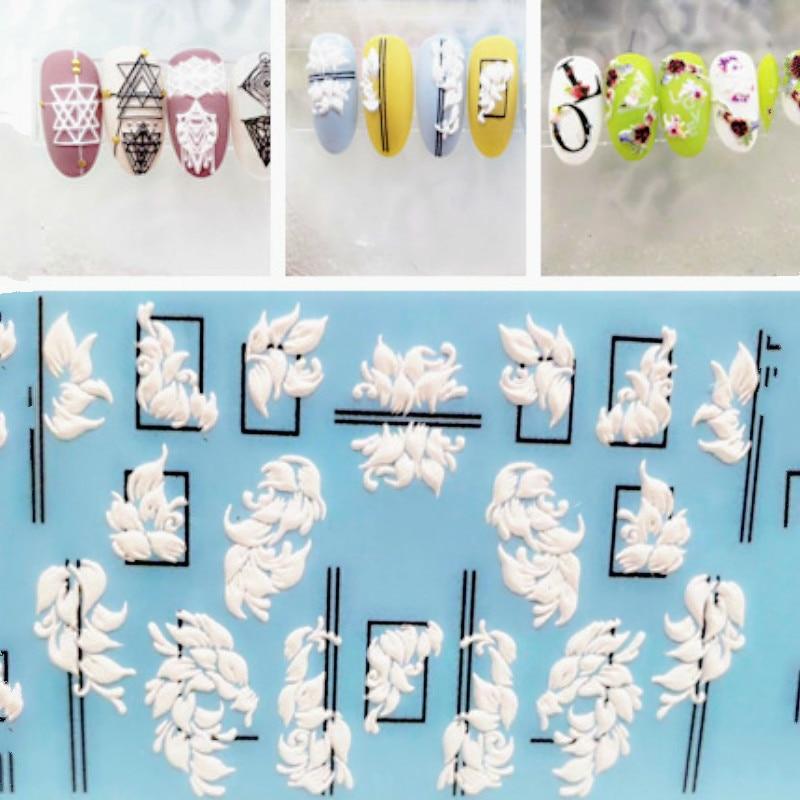 Pegatina para uñas acrílica 3D de moda, pegatinas estereoscópicas con diseño de líneas negras y flores grabadas, pegatinas de agua para uñas, calcomanías deslizantes de agua