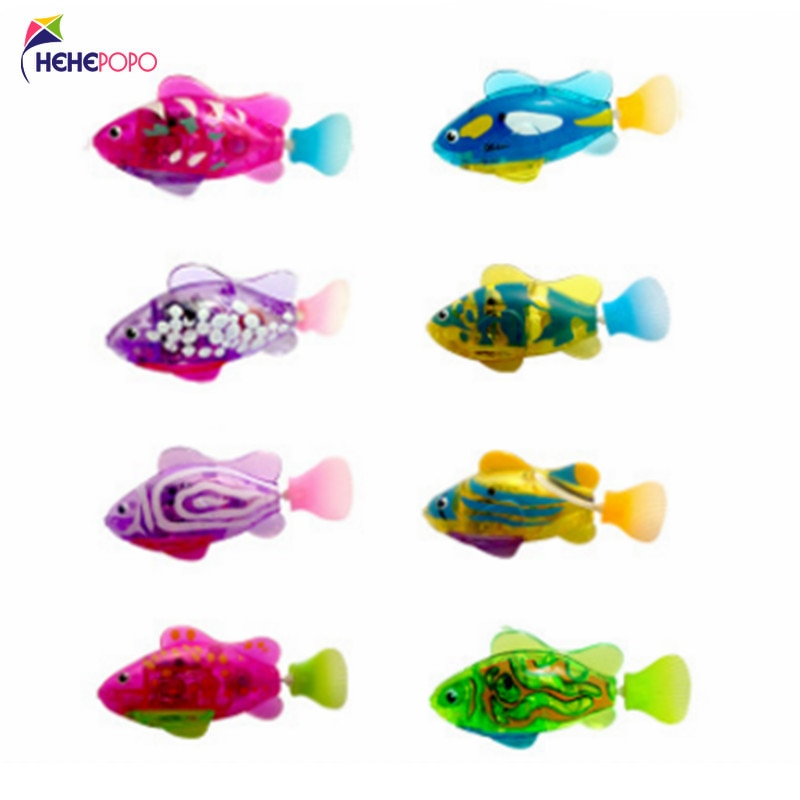 8 Pcs / Lot Flash Swimming Fish LED Electronic Fish Activated Toy Children Robot Pet Can Swim Bath T