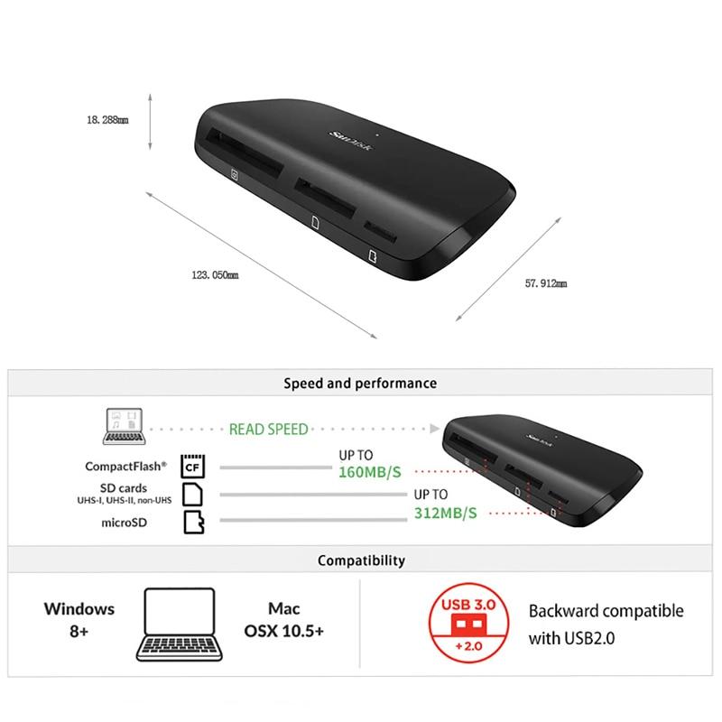 Sandisk Micro SD Flash Card Reader USB 3 3.0 ImageMate Pro Compactflash SD High Speed CF Card Reader USB C microSDHC microSDXC enlarge