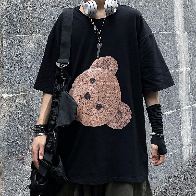 S-5XL Summer White Black Bear Short-sleeve ins T-shirt Men Women Couples Loose Casual Loose Hip Hop Harajuku Street Style 2021