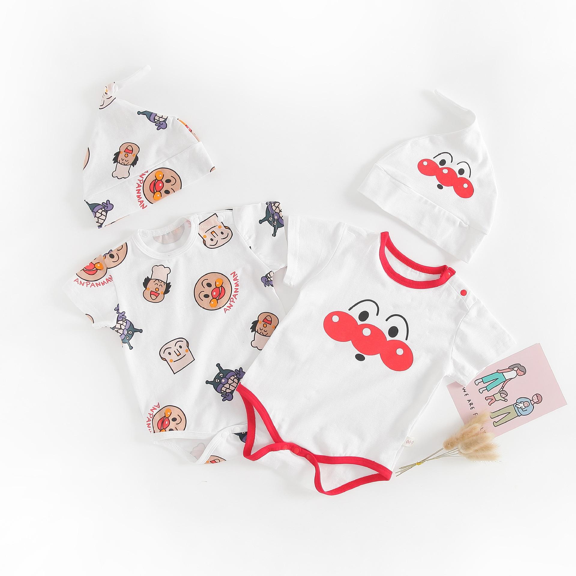 New Anpanman Baby Romper+Cap Summer Short sleeve Cartoon Clothes  Boys Girls cute Cotton Jumpsuit 3-18M