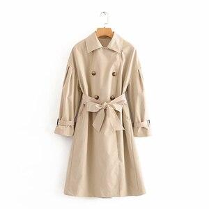 Осеннее пальто для женщин новые 2020 двубортный однотонная одежда с отложным воротником, пальто для девушек, повседневные модные женские туф...