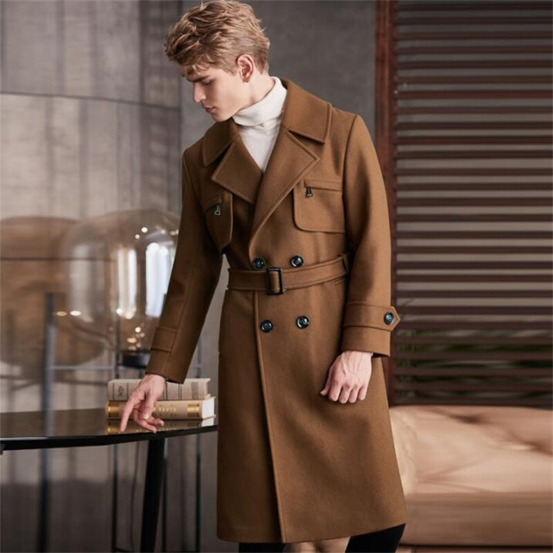 Abrigo de lana largo por encima de la rodilla para hombre, gabardina...
