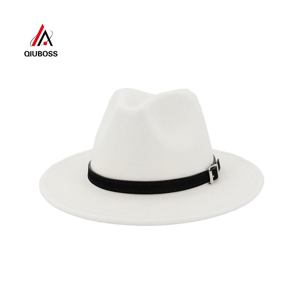QIUBOSS, для мужчин и женщин, с широкими полями, шерсть, фетровая шляпа, Панама, с ремешком, пряжка, Jazz Trilby, кепка для вечеринки, Официальный Топ, шляпа белого, черного цвета