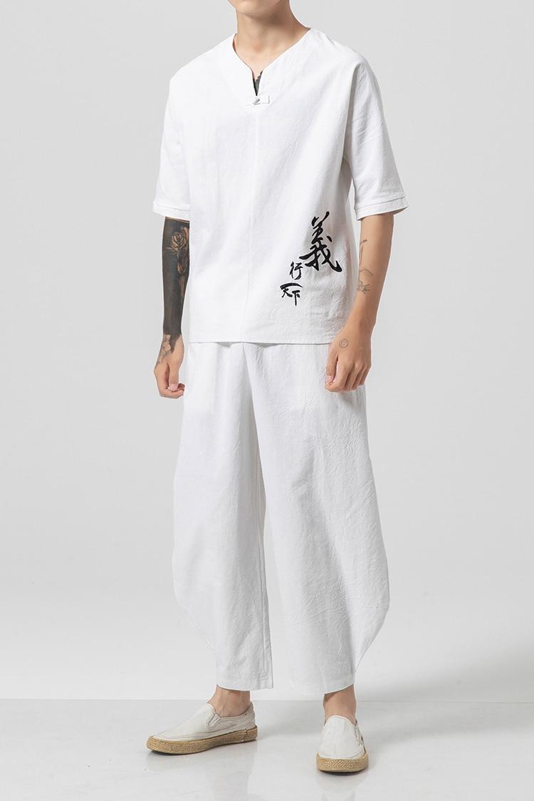 حجم كبير أبيض أسود النمط الصيني الشرقية زي الملابس العرقية الكتان 2 قطعة مجموعات القطن الكتان Mandarin Kung فو زن الملابس