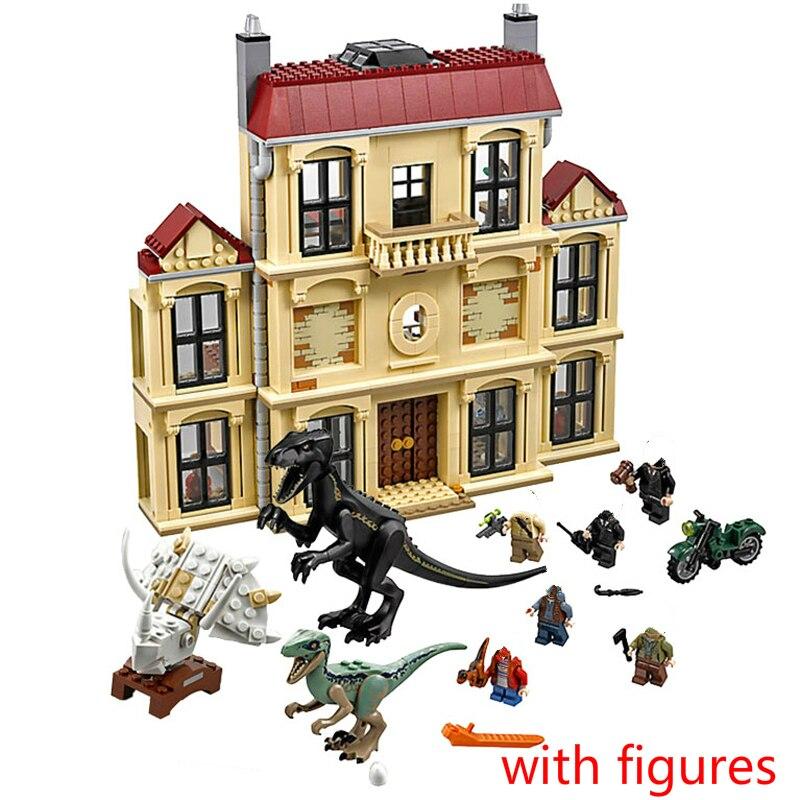 Mundo jurássico Dinossauro Indoraptor Tumulto Na Propriedade Dos Lockwood Building Block Brinquedos para Crianças Compatível 75930