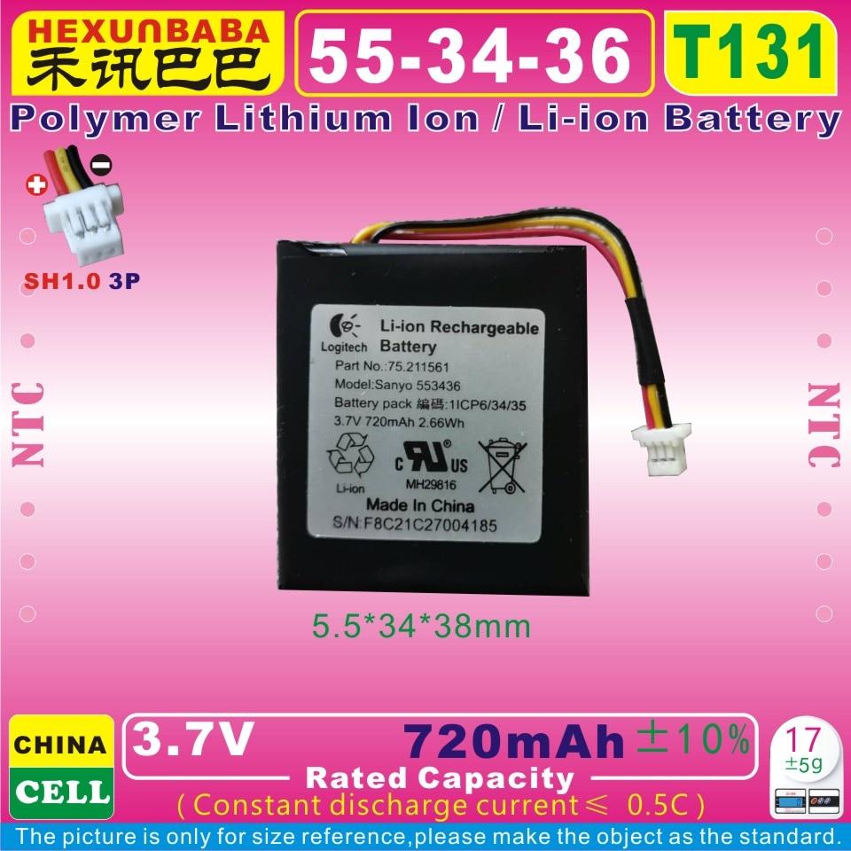 [T131] 3,7 V 720mAh [553436] batería de polímero Li-ion para auriculares Gaming Log-i-tech G9,G930,L-LY11,533-000018,75-211561.533-000074