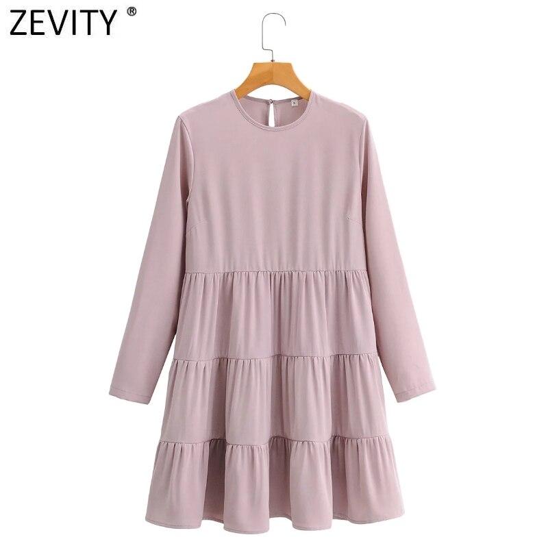 Женское платье с круглым вырезом Zevity, однотонное Плиссированное мини-платье с длинным рукавом, повседневные тонкие вечерние платья DS4684