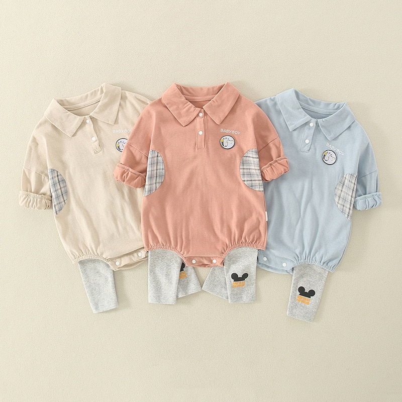 Newborn Baby Fart Romper  baby boy clothes sets Infant  long Sleeve Bodysuit +Pant Toddler Boy Outfi