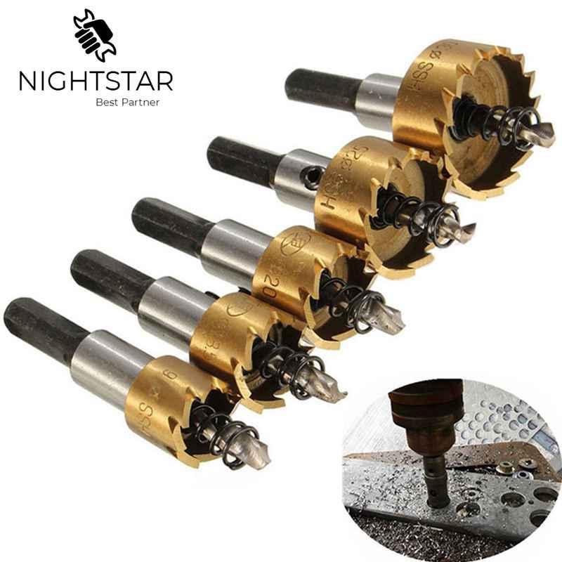 Krachtige 5Pcs HSS Drill Bit Hole Saw Set Stainless Steel Metal Alloy 16 18.5 20 25 30mm