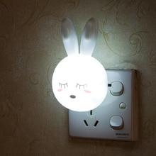 LED Night Light Cartoon Rabbit Sleeping Wall Night Lamp Kid Baby Children Baby Feeding Bedroom Bedside Lamp Decor EU/US Plug
