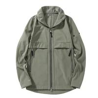 2021 fall new lapel soft shell fashion jacket thicken plush mens winter jacket imported fabric