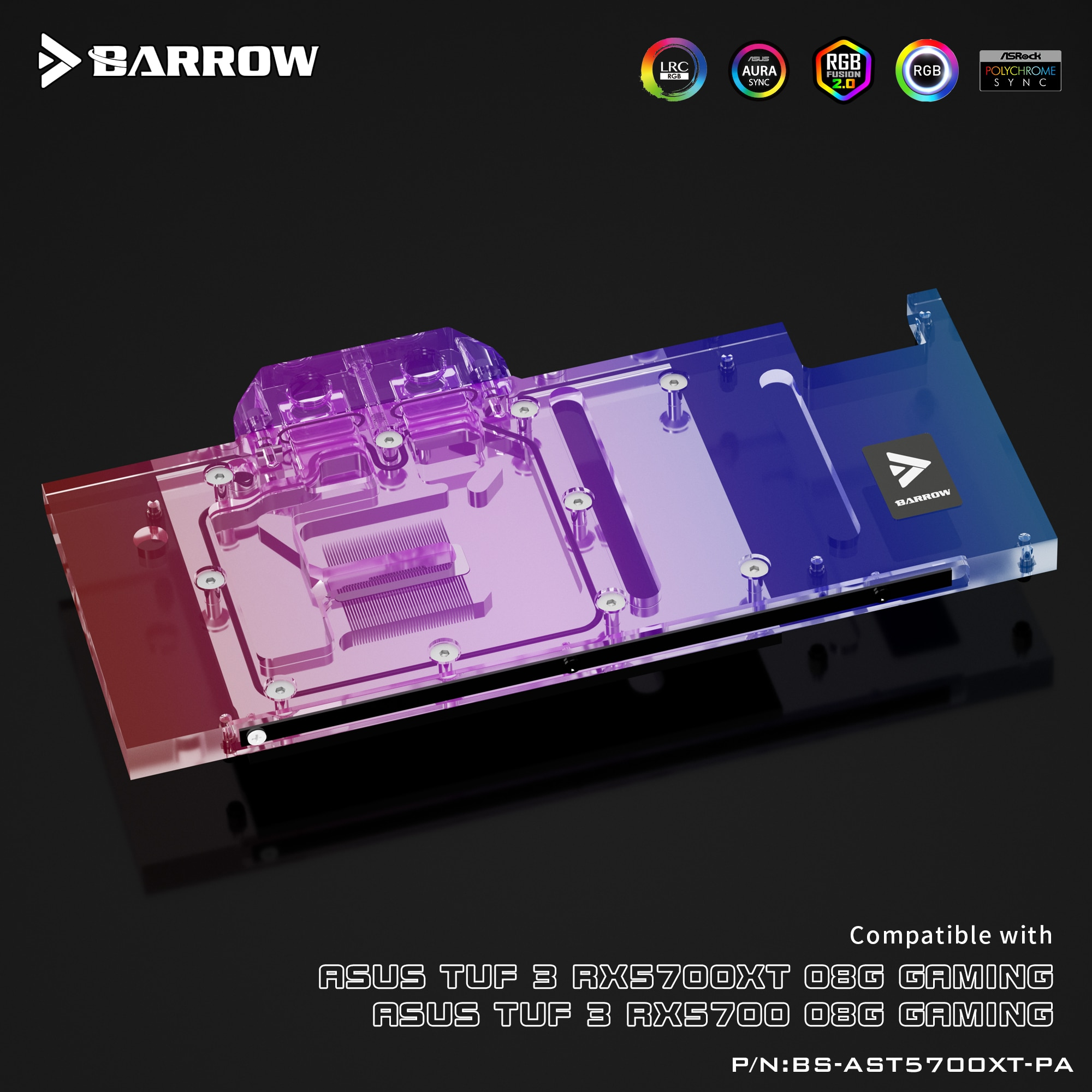 Barrow ASUS TUF 5700XT Aurora full coverage water cooling head DIY graphics card water cooling BS-AST5700XT-PA