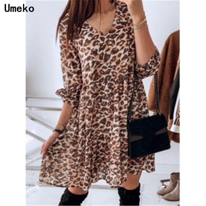 Umeko 2019 Leopard  A-Line Mini Dress Women Office Lady V-Neck Pleated Blouse Shirt Dress High Waist Slim Elegant Short Dress