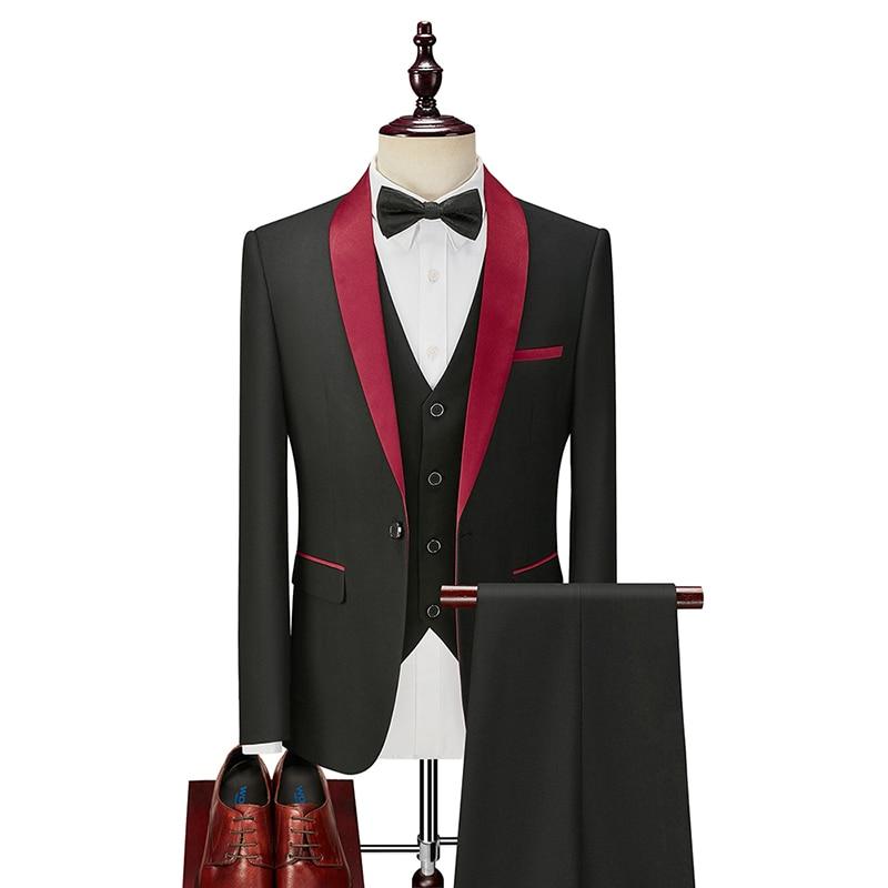 2021 الرجال بدلة سهرة سليم صالح شال التلبيب موضة رسمي بدل زفاف العريس المضيف مرحلة الأعمال مأدبة حفلة زي أسود