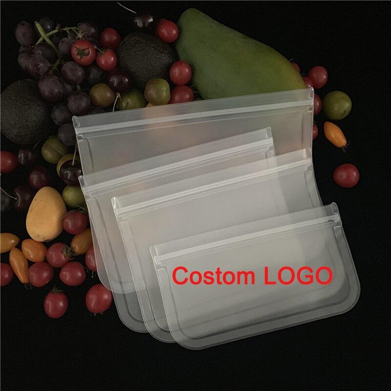 100 PcsLOGO مطبوعة مقاوم للماء الغذاء الصف زيبلوك Peva الغذاء حقيبة قابلة لإعادة الاستخدام ل ساندويتش وجبة خفيفة تخزين سيليكون أكياس فريزر