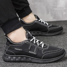Fashion Sneakers Flats Driving Shoes for Men New Brand High Quality All Black Men's Leather Casual S