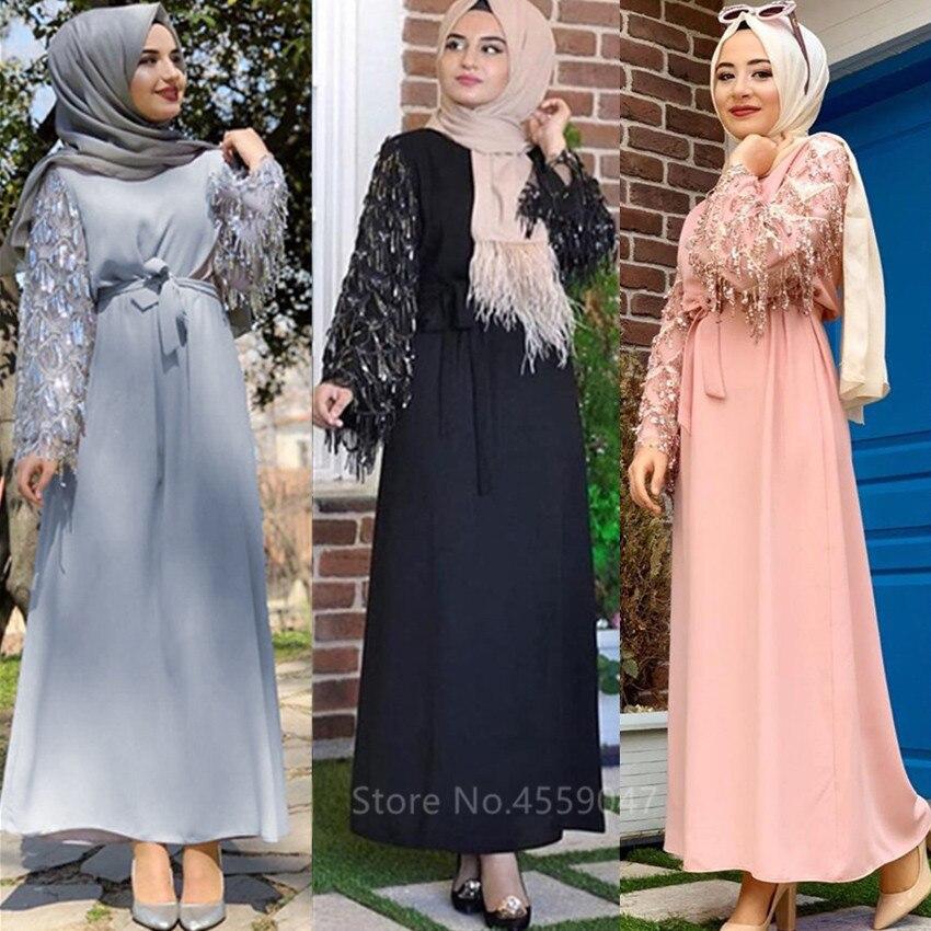 فستان طويل مزين بالترتر للنساء المسلمات ، فستان بأكمام طويلة مع أربطة ، ملابس إسلامية عربية ، قفطان ، مهرجان رمضان