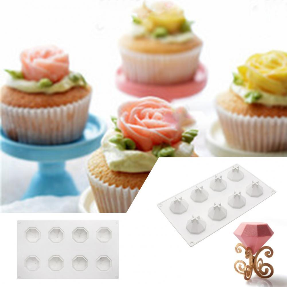 Hot 8 Cavity Diamond Mousse Cake Mould DIY Pastry French Dessert Silicone Mould Household Kitchen Baking Mould For Festival