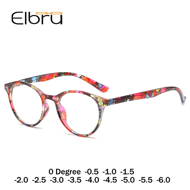 Elbru диоптрий от 0 до-6,0 готовая близорукость очки женские цветочные круглые близорукие очки близорукие оптические оправы для женщин