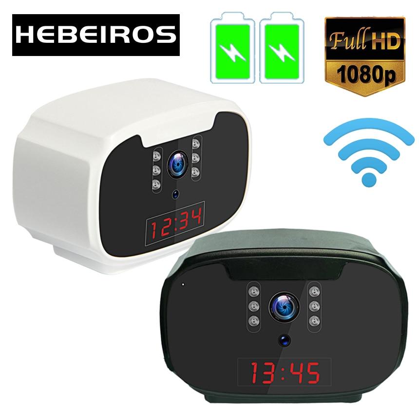 Hebeiros Mini 1080P كشف الحركة بطارية على مدار الساعة عرض الوقت اللاسلكية كاميرا مراقبة IP واي فاي للرؤية الليلية مع Auido