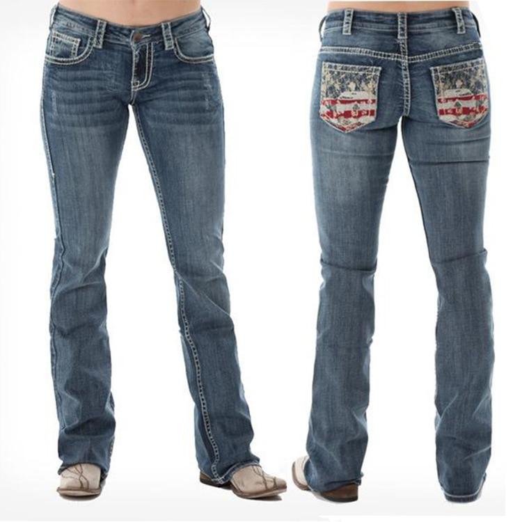 Женские джинсы с принтом, расклешенные женские джинсы с эффектом потертости, широкие джинсы
