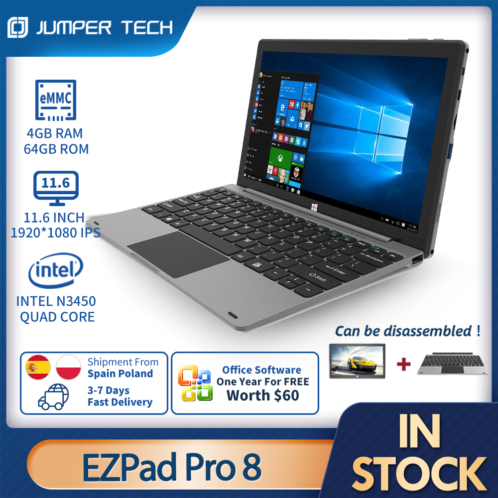 Notebook Jumper EZPad Pro8 11.6 inch1920*1080 IPS  4GB RAM 64GB ROM  Touch Screen Tablets With Keyboard Ezbook Windows10 Tables