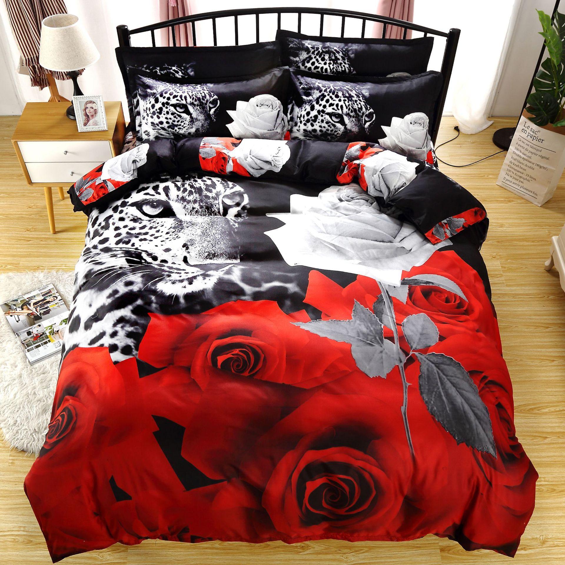 Achcual الحيوان ليوبارد روز طقم سرير حجم الملك لا ملاءات حاف مجموعة غطاء سرير مزدوج المنسوجات المنزلية الطباعة الرقمية be90